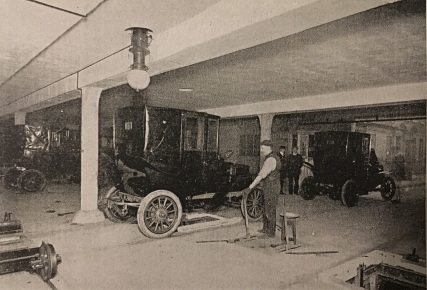 Cars Leaving Garage 1907
